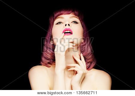 Woman with Coloring Hair. Portrait of Sexy Girl with Bob Haircut