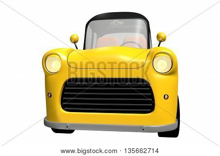 Yellow toy car with black roof isolated on white background. 3D illustration.