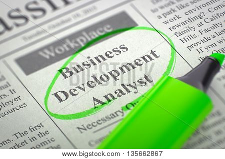 Newspaper with Classified Advertisement of Hiring Business Development Analyst. Blurred Image with Selective focus. Hiring Concept. 3D Rendering.