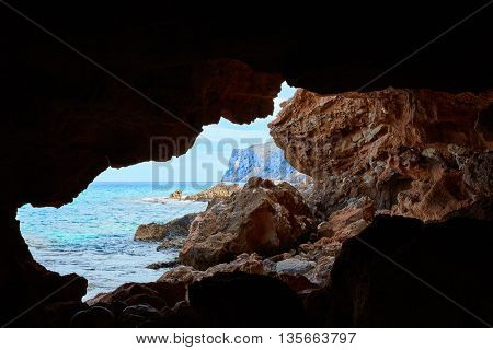 Denia Las rotas beach caves of alicante at mediterranean spain