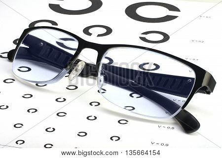 Eyesight test chart with abstract pattern and glasses