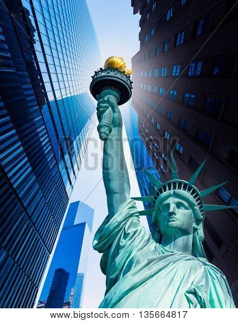 Liberty Statue and skyscrapers New York American Symbols USA photomount