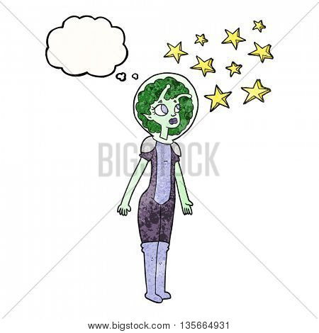 freehand drawn thought bubble textured cartoon alien space girl