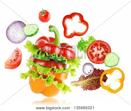 Mixed vegetables on white. Fresh food. Food concept