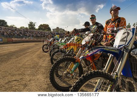 Rivne Ukraine - 11 October 2015: Unknown riders during a prepare for the race at the Open Cup Speedway to the day of the city Rivne