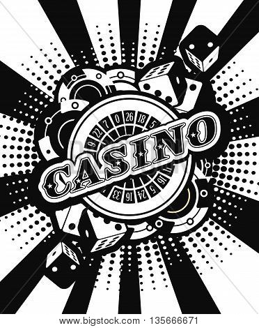 vector background beams casino with the attributes and signs of winning and luck black and white