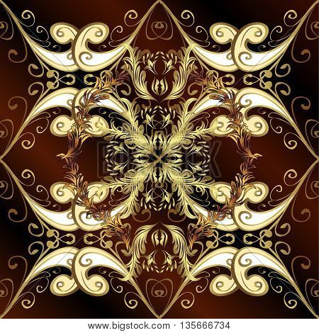 Vintage pattern on brown stripes background with golden elements.