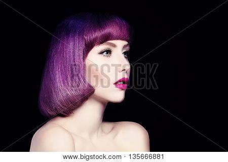 Beautiful Woman. Fashion Bob Haircut. Face closeup