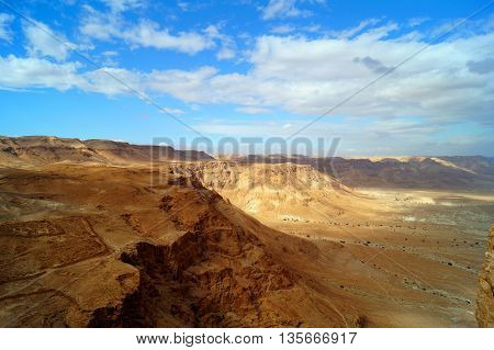 Beautiful desert view with mountains and valleys from Masada