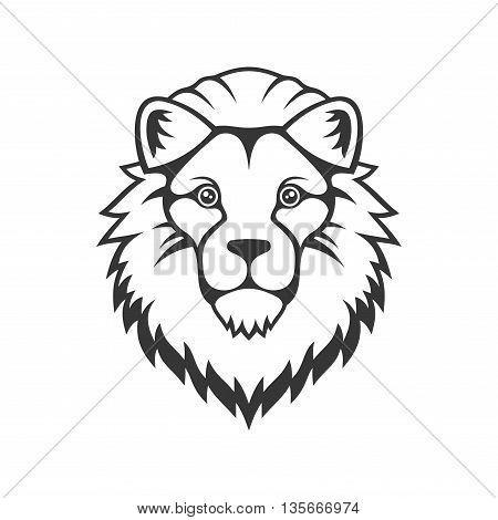 Lion Head Logo on White Background. Vector illustration