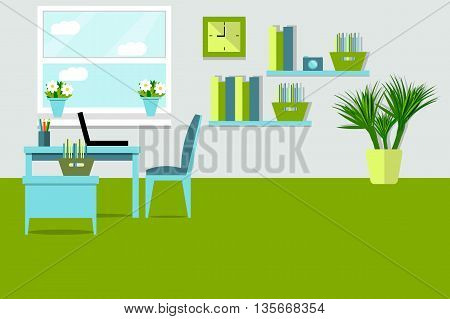 Workplace vector illustration, flat style, office design