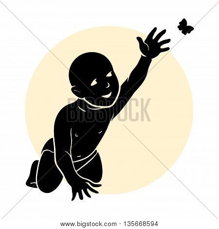 Silhouette of an infant with butterfly. Vector illustration