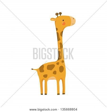 Giraffe Realistic Childish Illustration In Simple Cute Vector Design Isolated On White Background