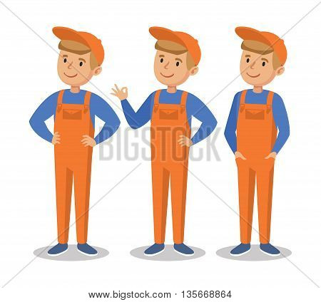 Cute cartoon mechanic boy. Happy little worker in an orange jumpsuit. Vector illustration Isolated On White Background