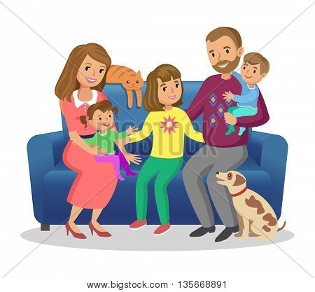 Happy family. Father mother son and daughters together. Vector illustration