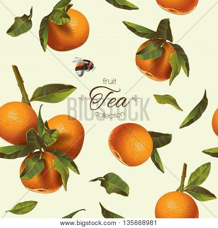 Vector citrus tea seamless pattern with orange and mandarin.Background design for tea, juice, cosmetics, baking, candy and sweets with citrus filling, jam, grocery.Best for print,