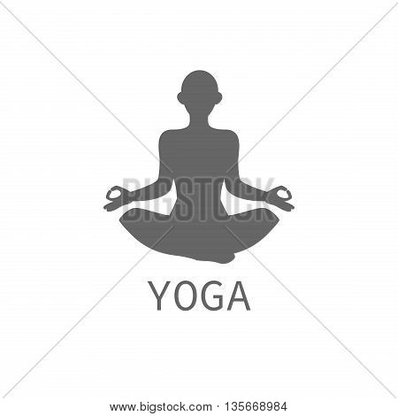 Hand drawn grunge illustration. Isolated woman silhouette sitting in lotus pose of yoga.
