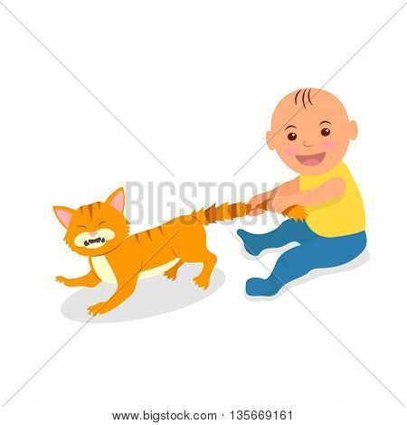 The kid plays with a red cat. Toddler grabbed the cat's tail. The cat bristled pain. Cartoon vector illustration.