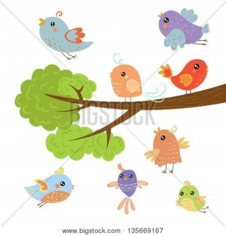 Different Cute Small Birds Sitting And Flying Around Tree Branch Childish Style Design Vector Illustration On White Background