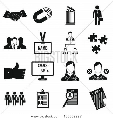Human resource management icons set in simple style for any design