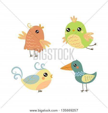 Four Cute Small Birds Set Of Isolated Childish Style Simple Shape Design Vector Icons On White Background