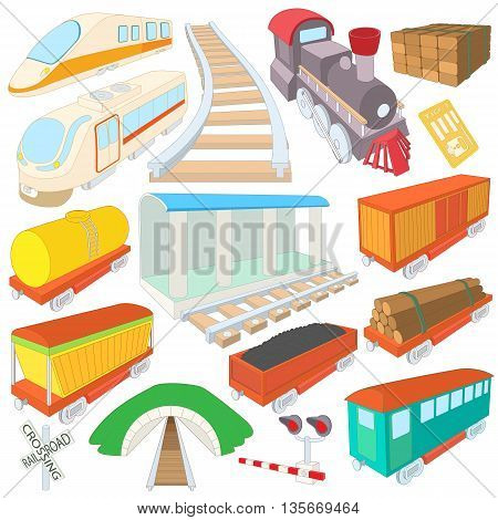 Railway icons set in cartoon style isolated on white background