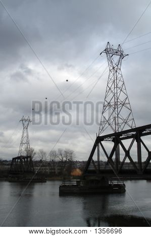Power Lines And  Old Trestle