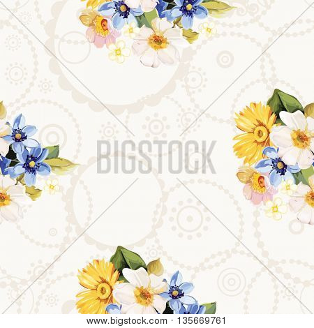 Seamless pattern blue white yellow flowers Vector Illustration EPS8