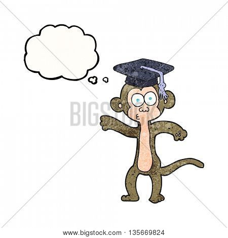 freehand drawn thought bubble textured cartoon graduate monkey