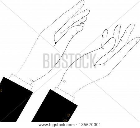 Silhouette of hands black-white, vector illustration. Applause