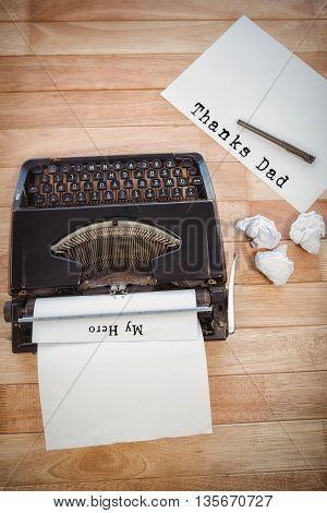 My hero written on paper with typewriter