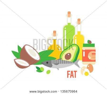 Different kind healthy fat. Good fats diet avocado, dry fruits and oil. Organic food vector and healthy fats food. Fresh diet green olive fats food nutrition fish raw. Vegetarian healthy fats food.
