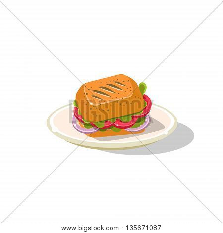 Traditional Italian Panini Simplified Flat Vector Icon Isolated On White Background