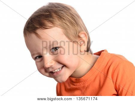 Cute smiley child on a white background