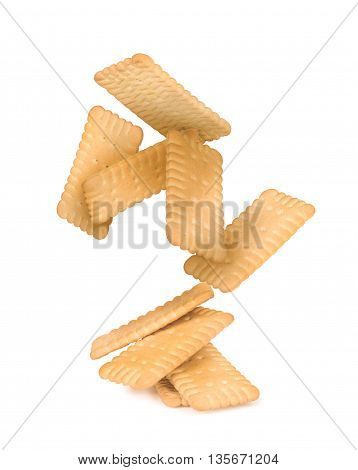 the falling stack of square crackers isolated on white background