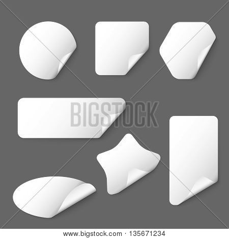 White vector paper stickers on grey background. White sticker, paper sticker, label shape sticker illustration