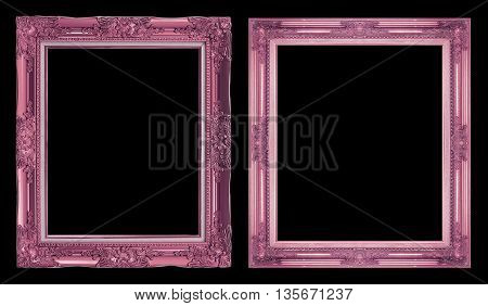 collection 2 antique pink frame isolated on black background clipping path.