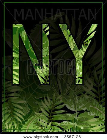 New york Manhattan typography with floral illustration. T shirt graphic . Vectors