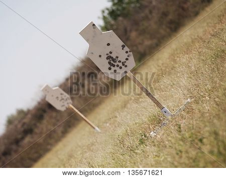 White steel targets on a sunny day during firearm practice