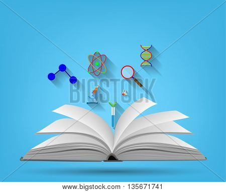 Open book and icons of science isolated on a blue background. vector illustration.