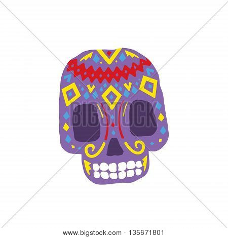 Bright Color Traditional Mexican Painted Scull Cool Pattern Vector Design Icon Isolated On White Background