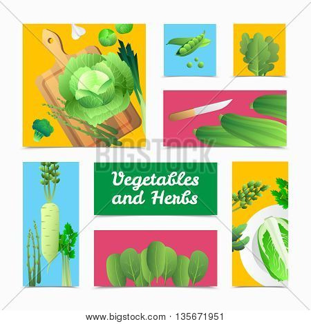 Fresh organically grown green vegetables icons banners and culinary  headers composition colorful background poster isolated vector illustration