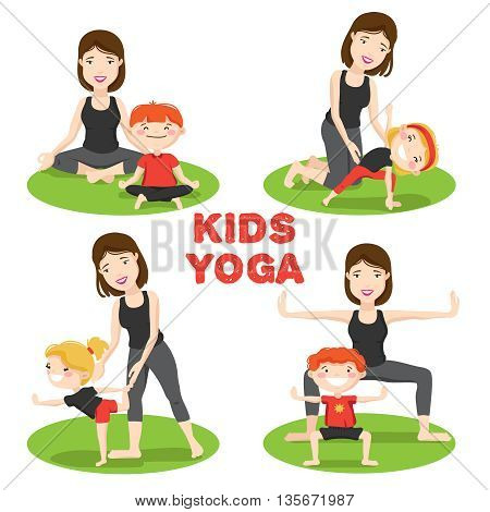 Little Kids first yoga asanas poses outdoor on grass with mother 4 cartoon icons isolated vector illustration