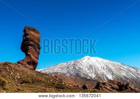 Rock on volcanic landscape Teide Tenerife island