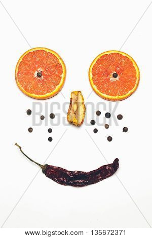 Positive Face Smiley From Spices Isolated