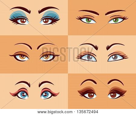 Women eyes set with different shape size and makeup flat vector illustration