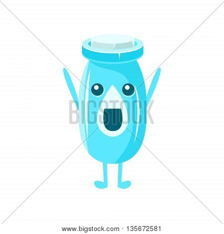 Milk Plastic Bottle Character Flat Childish Simple Style Vector Drawing Isolated On White Background