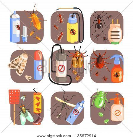 Pests And Measures For Their Extermination Set Of Flat Colorful Simple Vector Icons
