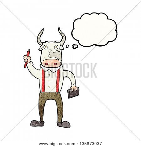 freehand drawn thought bubble textured cartoon bull man