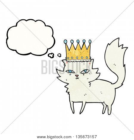 freehand drawn thought bubble textured cartoon posh cat